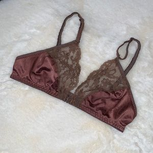Other - Vintage Lacey Satin Unlined Triangle Bralette